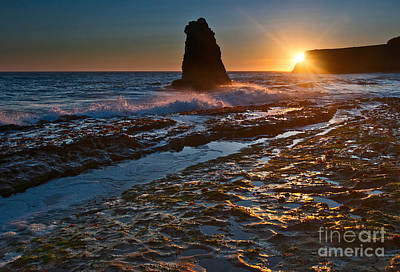 Ocean Vista Photograph - Davenport Burst - View Of A Sea Stack In Santa Cruz. by Jamie Pham