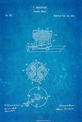 Davenport Electric Motor Patent 1837 Blueprint Print by Ian Monk