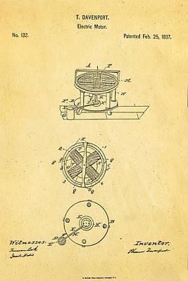 Davenport Electric Motor Patent 1837 Print by Ian Monk