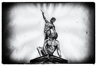 David And Goliath Drawing - David And Goliath by Golda Verstaete