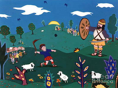Art Print featuring the painting David And Goliath by Joyce Gebauer