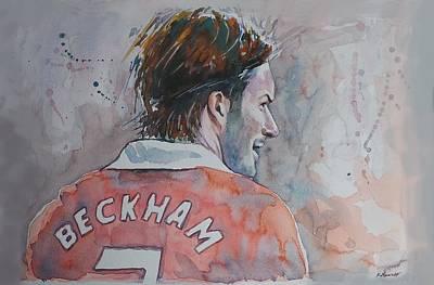 David Beckham Wall Art - Painting - David Beckham - Portrait 2 by Baris Kibar