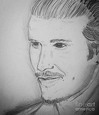 Athletes Drawings - David Beckham by Collin A Clarke