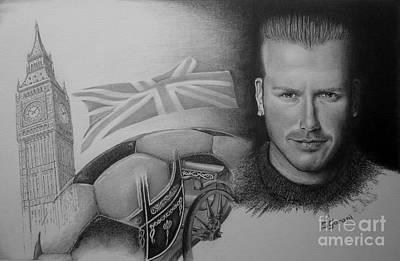 Big Ben Drawing - David Beckham by Geni Gorani