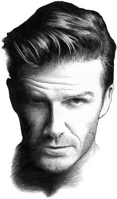 David Beckham Wall Art - Drawing - David Beckham Pencil Portrait by Mike Bruce