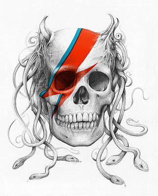 Pencil Drawing - David Bowie Aladdin Sane Medusa Skull by Olga Shvartsur