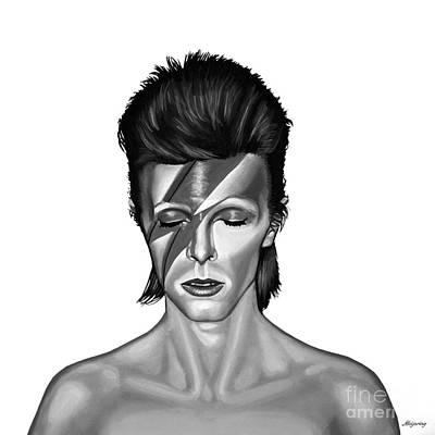 Musician Mixed Media - David Bowie Aladdin Sane by Meijering Manupix