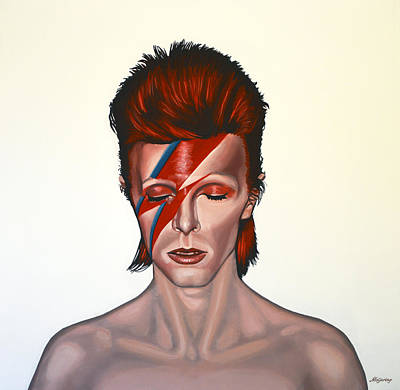 Celebrities Wall Art - Painting - David Bowie Aladdin Sane by Paul Meijering