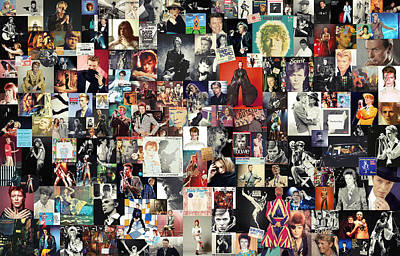 Living-room Digital Art - David Bowie Collage by Taylan Apukovska