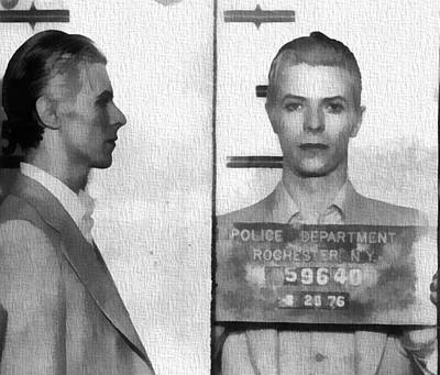 Musicians Royalty-Free and Rights-Managed Images - David Bowie Mug Shot by Dan Sproul