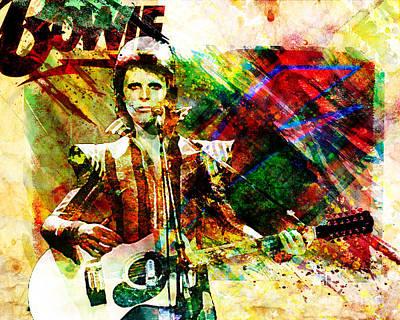 80s Painting - David Bowie Original Painting Print by Ryan Rock Artist