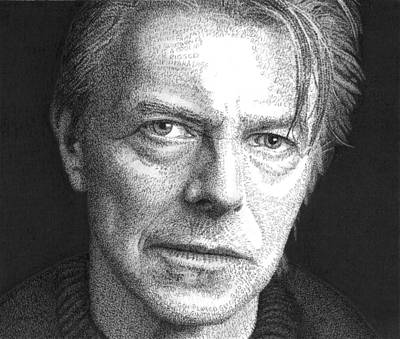 Superstar Drawing - David Bowie by Timothy Glasby