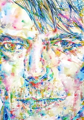 David Bowie Portrait Painting - David Bowie Watercolor Portrait.4 by Fabrizio Cassetta