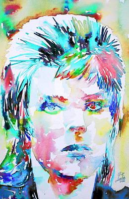 David Bowie Portrait Painting - David Bowie - Watercolor Portrait.6 by Fabrizio Cassetta