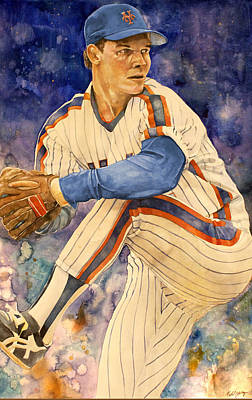 Mlb Art Drawing - David Cone by Michael  Pattison