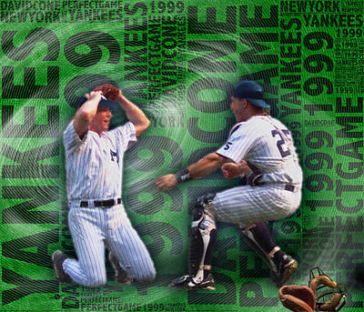 Yankee Stadium Painting - David Cone Yankees Perfect Game 1999 by Tony Rubino