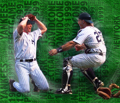 Yankee Stadium Painting - David Cone Yankees Perfect Game 1999 Zoom by Tony Rubino