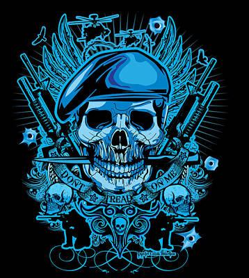 David Cook Studios Army Ranger Military Skull Art Art Print by David Cook  Los Angeles Prints