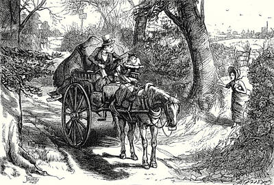 Horse And Cart Drawing - David Copperfield I Saw To My Amazement Peggotty Burst by English School