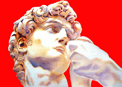 David Face By Michelangelo   Red Art Print by J- J- Espinoza