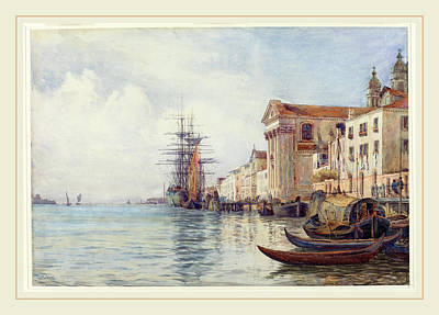 Watercolor On Paper Drawing - David Law Scottish, 1831-1901, The Giudecca Canal by Litz Collection