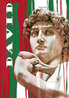 David - Michelangelo - Stylised Modern Drawing Art Sketch  Art Print by Kim Wang