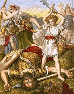 David Slaying Goliath Art Print by English School