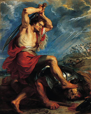 David And Goliath Painting - David Slaying Goliath by Peter Paul Rubens