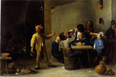 Twelfth Painting - David Teniers The Younger, Peasants Celebrating Twelfth by Litz Collection