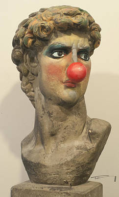 Mixed Media - David With Makeup And Clown Nose 1 by Tim Nyberg