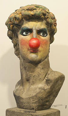 Mixed Media - David With Makeup And Clown Nose 2 by Tim Nyberg