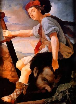 Religious Art Digital Art - David With The Head Of Goliath by Thomas Flatman