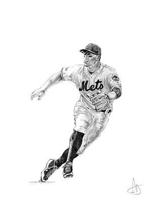 New York Mets Drawing - David Wright by Joshua Sooter