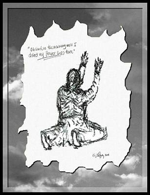 Jesus Drawing - David's Prayer - Sketch by Glenn McCarthy Art and Photography