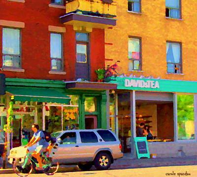 Cafes Painting - Davids Tea Room Rue St Viateur Next To The Bagel Shop Montreal Street Scene Art Carole Spandau   by Carole Spandau