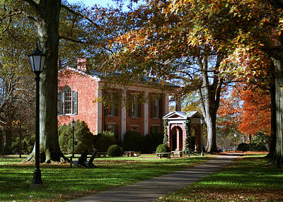 Railroad - Davidson College Old Well and Philanthropic Hall in Autumn by Orange Cat Art