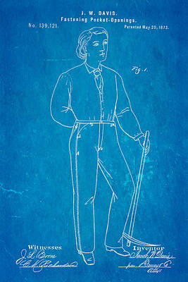 Davis Original Levi's Patent Art 1873 Blueprint Art Print by Ian Monk