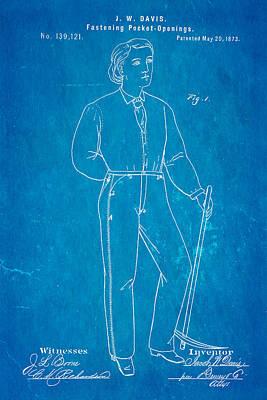Davis Original Levi's Patent Art 1873 Blueprint Print by Ian Monk