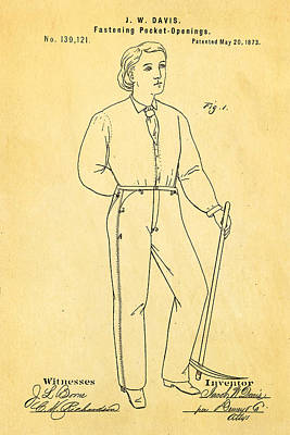 Davis Original Levi's Patent Art 1873 Art Print by Ian Monk