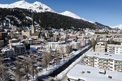 Mountain Photograph - Davos River Town Switzerland by Andy Smy