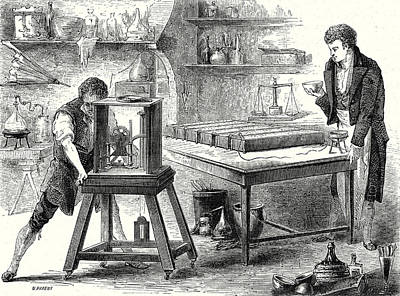 Davy Decomposes Alkali With The Battery Of Volta 1807 Art Print by English School