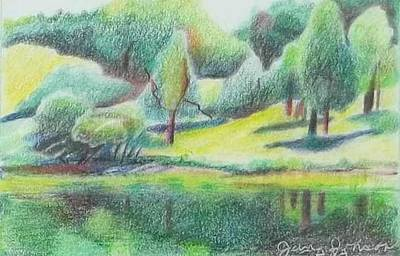 Drawing - Dawes Aboretum by Jane Johnson