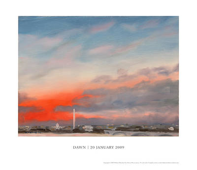 Jefferson Memorial Painting - Dawn 20 January 2009 by William Van Doren