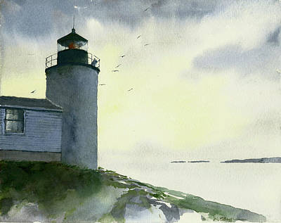 Painting - Dawn At Bass Harbor Lighthouse by William Beaupre