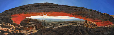 Dawn At Mesa Arch Canyonlands Utah Print by Richard Harpum