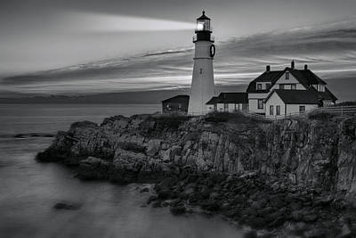 Shores Photograph - Dawn At Portland Head Light Bw by Susan Candelario