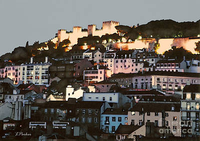 Port Town Digital Art - Dawn At St. George Castle Lisbon by Linda  Parker