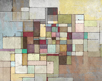 Grid Painting - Dawn Beach Lattice Abstract Painting by Karyn Lewis Bonfiglio