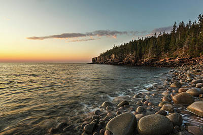 Dawn In Monument Cove In Maine's Acadia Art Print by Jerry and Marcy Monkman