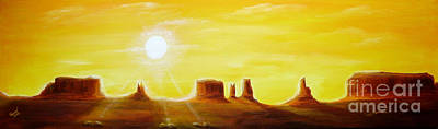 Sunrise Painting - Dawn In Monument Valley by Christine Huwer